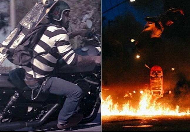 Em cima da moto ou do skate, ele sente a liberdade de fazer o que mais gosta