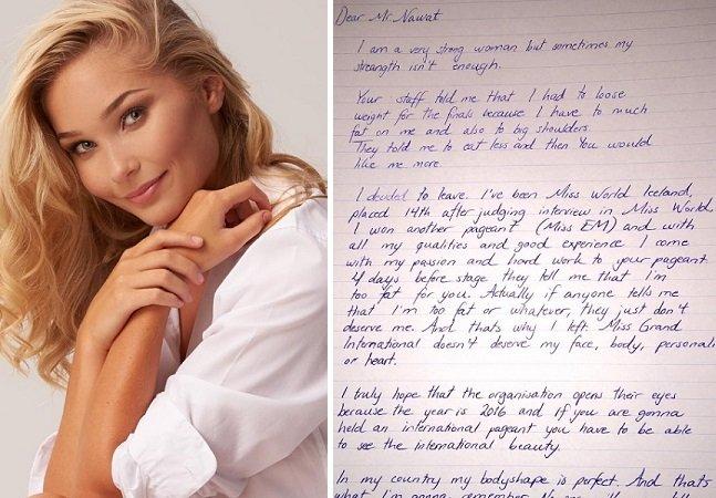 Candidata abandona concurso internacional de beleza depois de ouvir que deveria perder peso