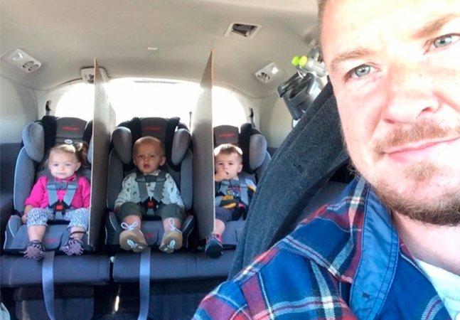 Este pai de trigêmeos teve uma ideia genial para acabar com as brigas no banco de trás