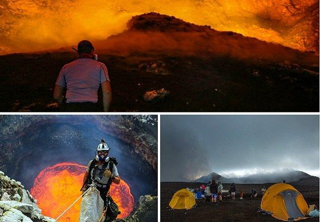 Eles acampam em vulcões ativos para fazer imagens incríveis