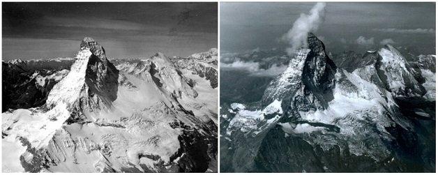 montanha-matterhorn-alpes-na-fronteira-entre-suica-e-italia-agosto-de-1960-e-agosto-de-2005