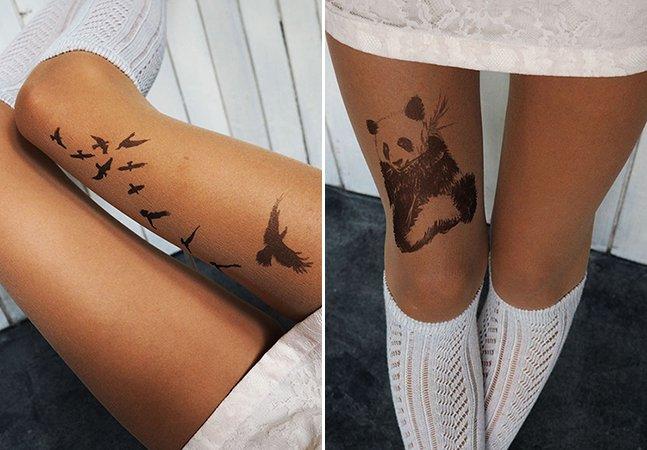 Empresa vende meias pintadas à mão que criam a ilusão de que você está tatuada