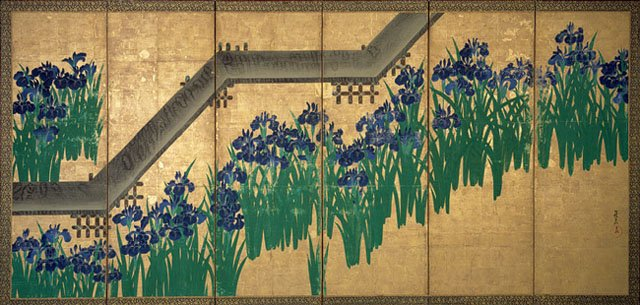 Working Title/Artist: Yatsuhashi, Ogata Korin Department: Asian Art Culture/Period/Location: HB/TOA Date Code: 09 Working Date: Japanese. Paintings-screens. 53.7.2 (flat) Edo Period, 18th Century Screen, six-panel, one of a pair: Iris and Bridge (Yatsuhashi) Ink, Color and gold leaf on paper H. 70-1/2 in. W. 146-1/4 in. transparency 5, photographed in 1993 scannned for burke cd-rom in 1999 (phc)