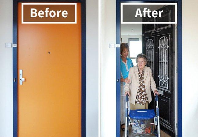 Empresa recria as portas das casas de pacientes com demência para fazê-los sentir mais confortáveis