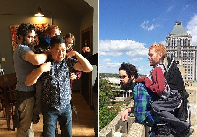 Jovens criam mochila adaptada para levar amigo com atrofia muscular à Europa