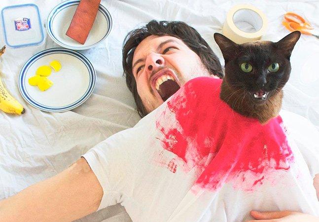 Ele decidiu recriar cenas de filmes famosos ao lado de seus gatos de estimação