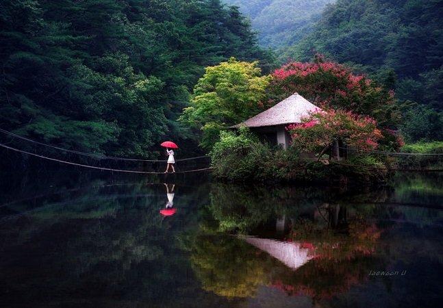 Fotógrafo usa os reflexos na água para mostrar a beleza das paisagens da Coreia do Sul