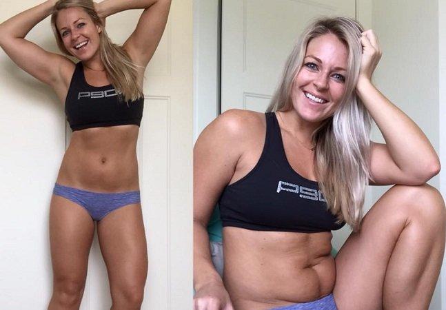 Blogueira fitness surpreende e defende que paremos de nos preocupar com os pneuzinhos