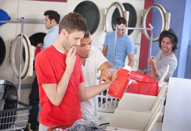 Confused Men In Laundromat