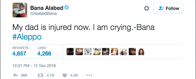 """""""Meu pai está ferido agora. Estou chorando - Bana"""""""
