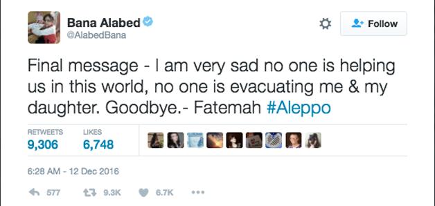 Mensagem final - estou muito triste que ninguém nos está ajudando nesse mundo, ninguém está evacuando a mim e à minha filha. Adeus - Fatemah.