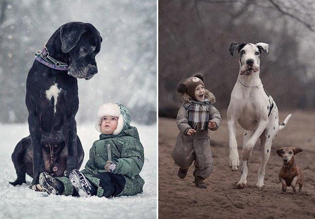 Série de fotos inspiradora mostra cachorros gigantes brincando com seus pequenos amigos humanos