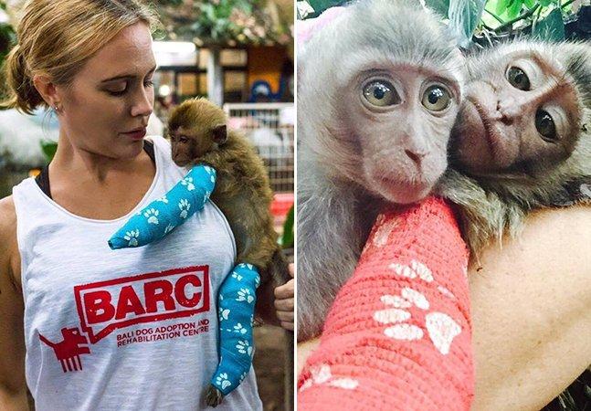 Bebê macaco resgatado após maus tratos ganha gessos coloridos que agora usa para abraçar a nova irmã
