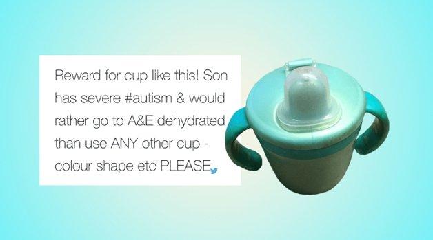 """""""Recompensa por um copo igual a esse! Meu filho tem autismo severo e prefere ir para a emergência de um hospital desidratado do que usar qualquer outro copo - cor, formato, etc. POR FAVOR"""""""