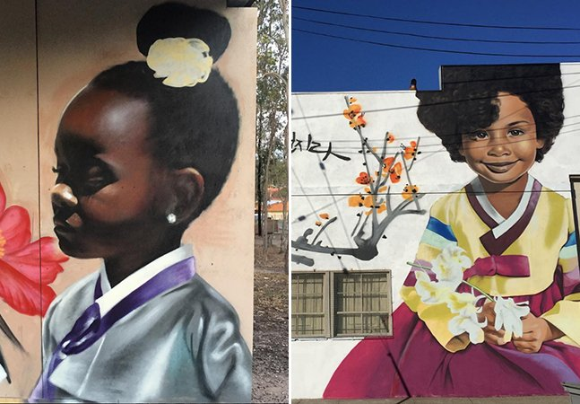 Artista cria murais impressionantes de mulheres negras usando roupas tradicionais da Coreia