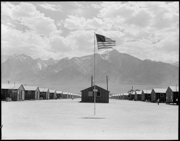 Manzanar Relocation Center, Manzanar, California. Street scene o