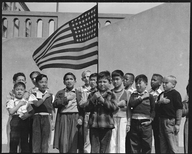 San Francisco, California. Flag of allegiance pledge at Raphael