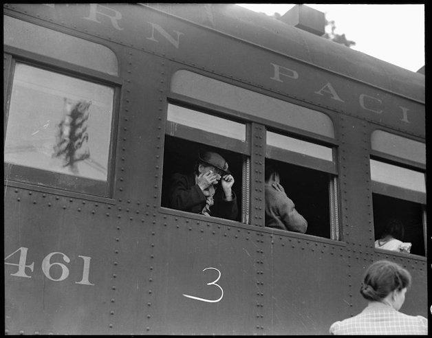Woodland, Yolo County, California. Ten cars of evacuees of Japan