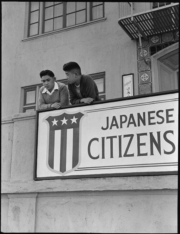 San Francisco, California. High school boys, on balcony of Japan