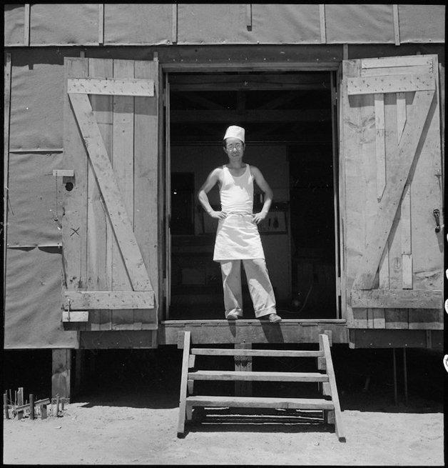 Manzanar Relocation Center, Manzanar, California. A chef of Japa