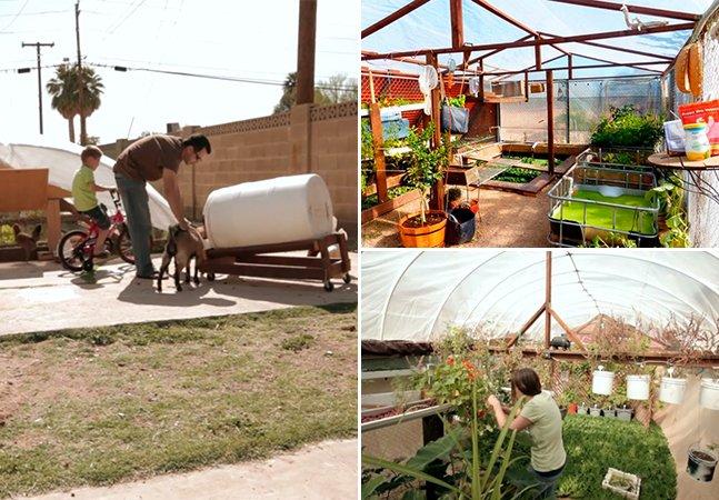 Esta família usa a piscina para produzir TODOS os alimentos que consome