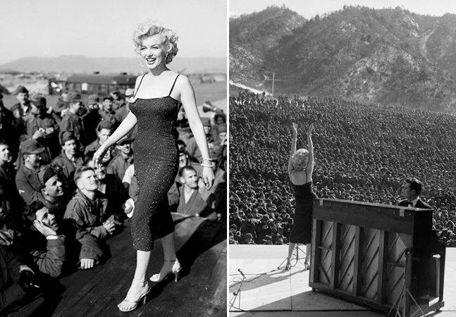Série de fotos fascinante mostra Marilyn Monroe se apresentando para milhares de soldados na Coreia em 1954