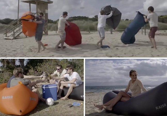Esta espreguiçadeira inflável cabe perfeitamente na sua bolsa de praia