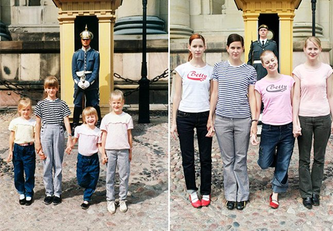 Quatro irmãs recriam fotos memoráveis da infância quase 30 anos depois