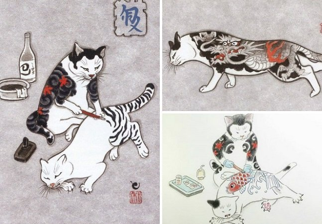 Essas ilustrações japonesas de gatos tatuando gatos são totalmente demais