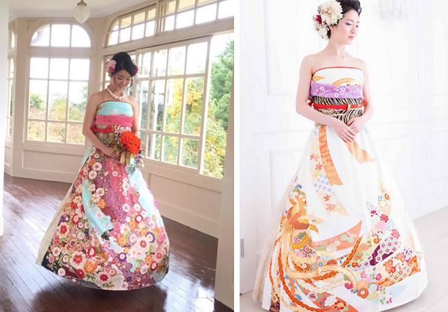 Noivas japonesas estão transformando os tradicionais quimonos em exuberantes vestidos