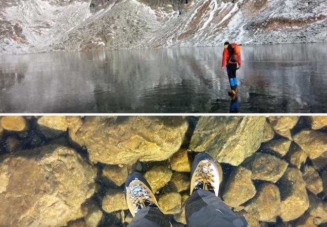 [Vídeo] Um lago congelado de água tão clara onde parece que você está caminhando no ar