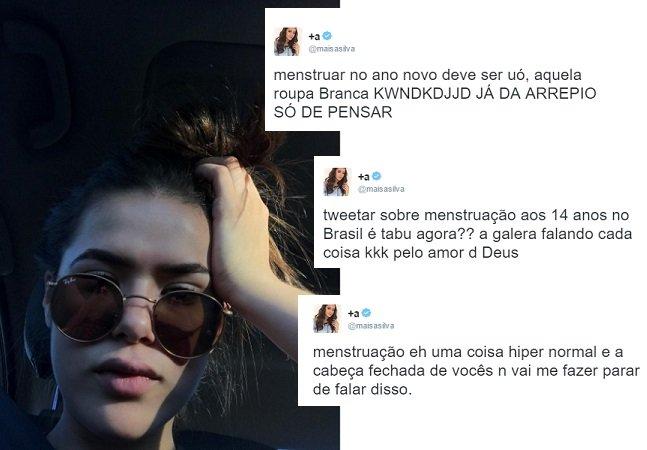 Maísa questiona tabus no Twitter e defende que se fale sobre  menstruação com mais naturalidade