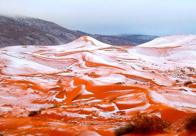 2016 surreal: caiu neve no deserto do Saara pela primeira vez em 37 anos