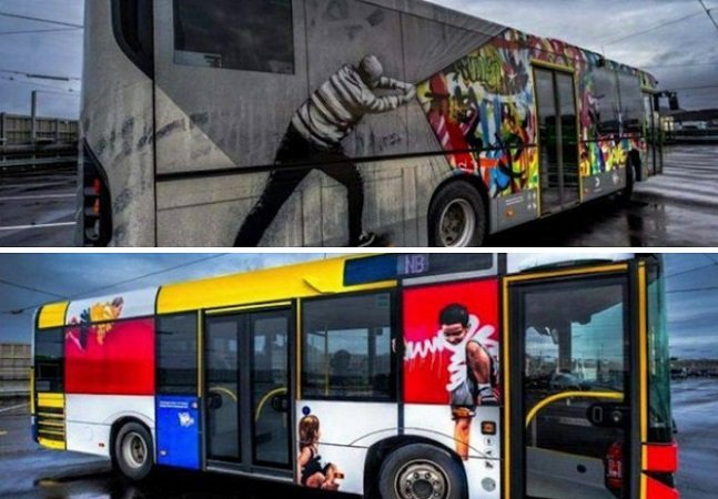 As ilustrações criativas dos ônibus da Noruega