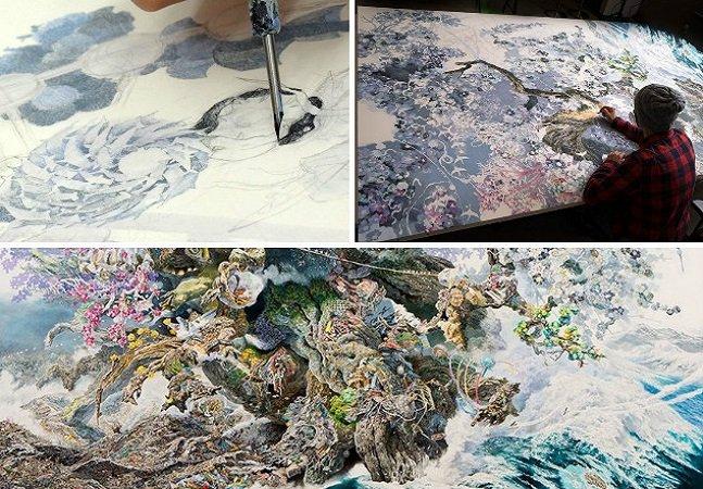 Após o tsunami no Japão, ele trabalhou 10 horas por dia por mais de 3 anos para criar esta obra gigante