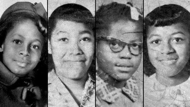 As jovens mortas na explosão da igreja: Denise McNair, 11 anos; Carole Robertson, Addie Mae Collins e Cynthia Wesley, todas com 14 anos