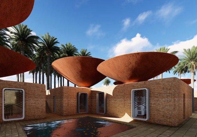 Este telhado em forma de vasilha coleta água da chuva para refrescar as casas de forma natural