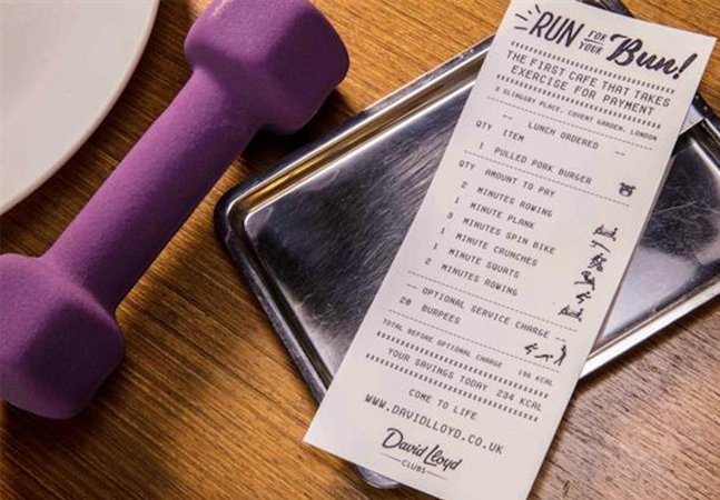 Este café vai oferecer uma refeição grátis para quem praticar 6 minutos de exercício