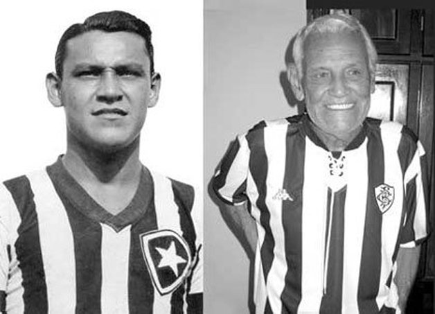 Octávio de Moraes, o Tatá, inventor do futevôlei; à esquerda em seus tempos de Botafogo; à direita, celebrando o esporte que ajudou a criar