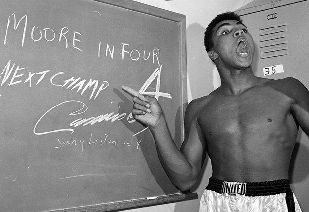 Ali explicando que irá vencer uma luta no quarto round...