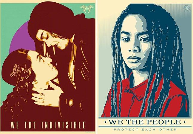 Artista que criou icônico pôster de esperança por Obama lança novas imagens: protestando contra Trump