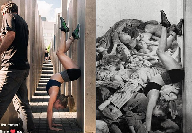 Artista expõe o desrespeito de selfies tiradas por turistas no Memorial do Holocausto