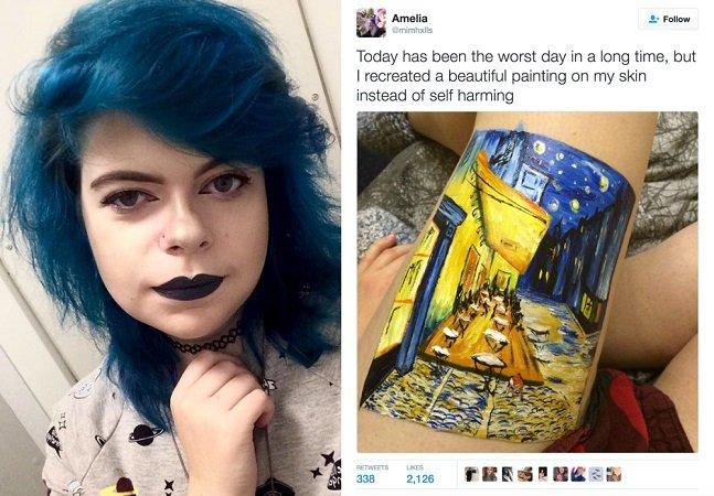Garota que sofre com depressão recria pintura de Van Gogh na perna em vez de se autoflagelar