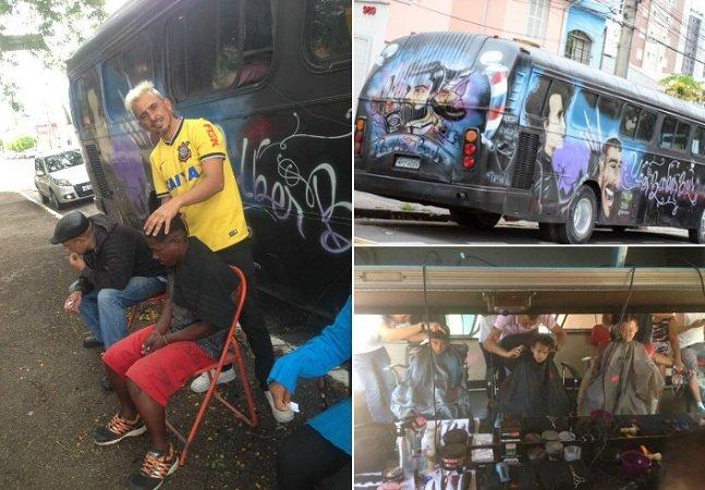 Ele transformou um ônibus em barbearia itinerante para atender moradores em situação de rua em SP