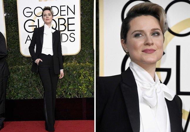 Evan Rachel Wood foi de terno ao Globo de Ouro pelo melhor motivo
