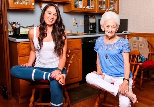 O yoga mudou a postura e a vida desta senhora de 87 anos