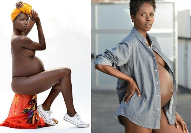 Modelo grávida de gêmeos é criticada por sua barriga 'muito negra' e responde com amor
