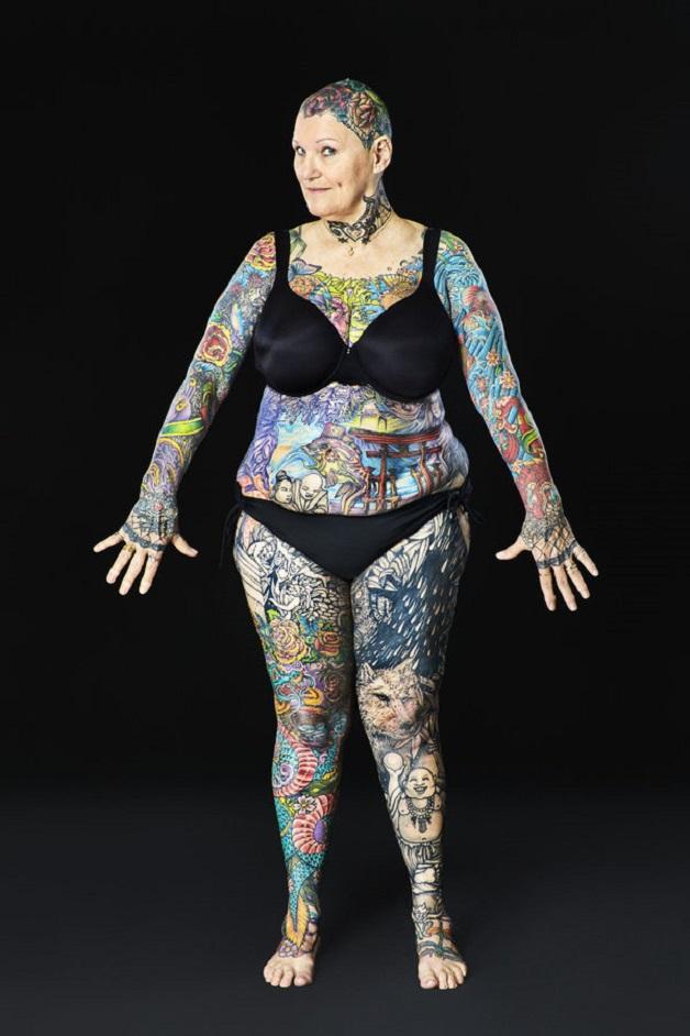 Charlotte Guttenberg - Most tattooed senior citizen (female) Guinness World Records 2016 Photo Credit: Al Diaz/Guinness World Records