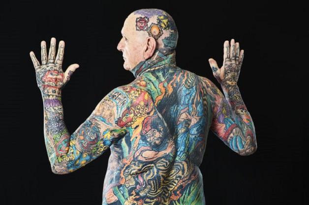 Chuck Helmke - Most tattooed senior citizen (male) Guinness World Records 2016 Photo Credit:Al Diaz/Guinness World Records