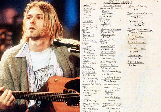 Documento raro escrito à mão mostra os 50 melhores discos de todos os tempo para Kurt Cobain